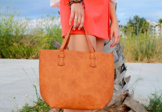 bolso marron anaranjado