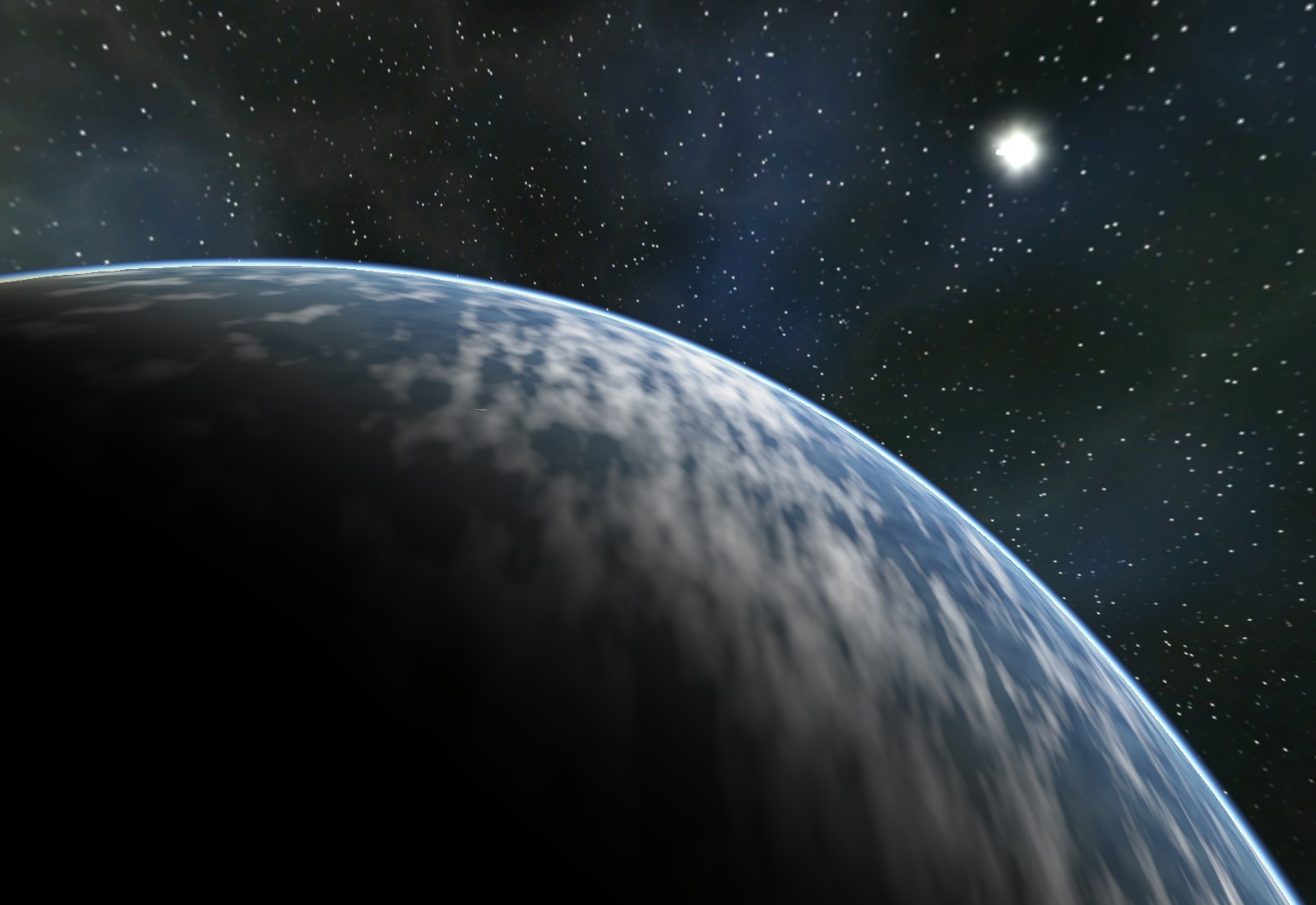 Another view of the atmospheric scattering shader and starfield skybox
