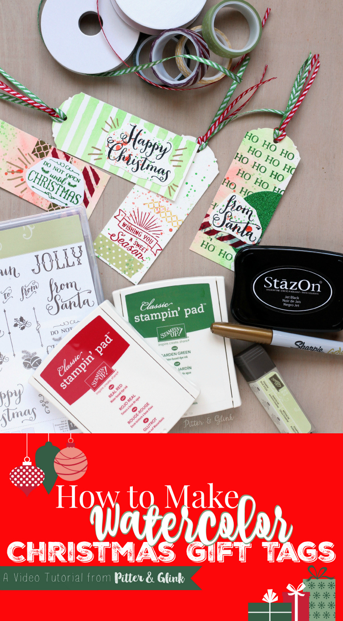 How to Make Christmas Watercolor Gift Tags. www.pitterandglink.com