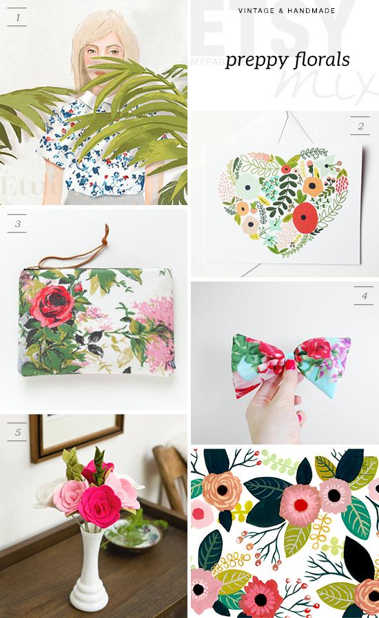 Preppy florals handmade collection via Etsy
