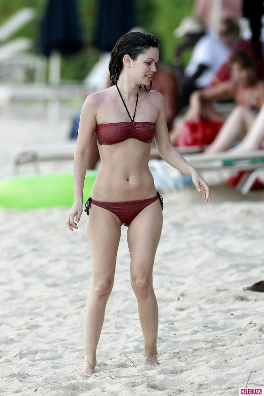 Rachel Bilson Wears a Burgundy Bikini in Barbados