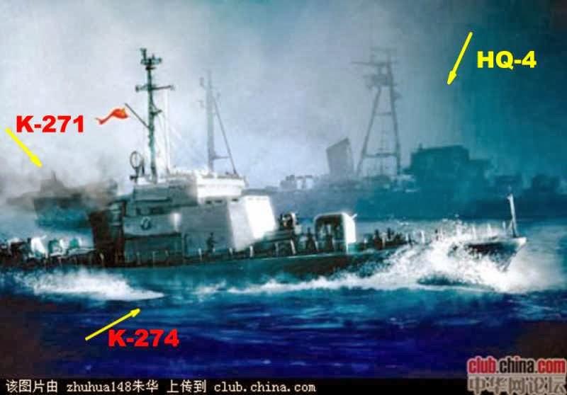 HQ-4 chiến đấu với hai tàu 271 và 274 (ảnh Trung Quốc)