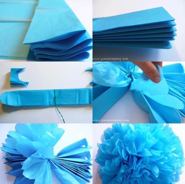 La f brica de secretos diy pompones con papel de seda - Como se hacen los pompones ...