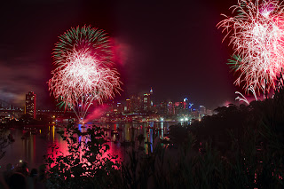 red and pink fire works in australia on new year eve