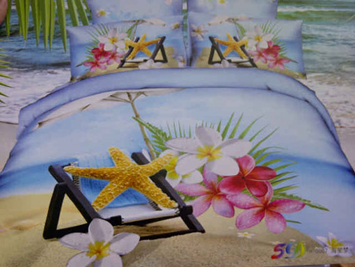 Sprei Katun Jepang Motif Bintang Laut dan Bunga