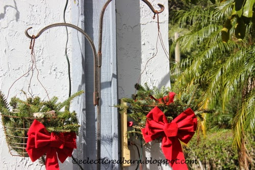 Eclectic Red Barn: Pine wire baskets with birds and ribbons
