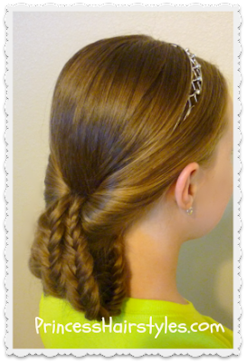 tucked fishbone braids with headband