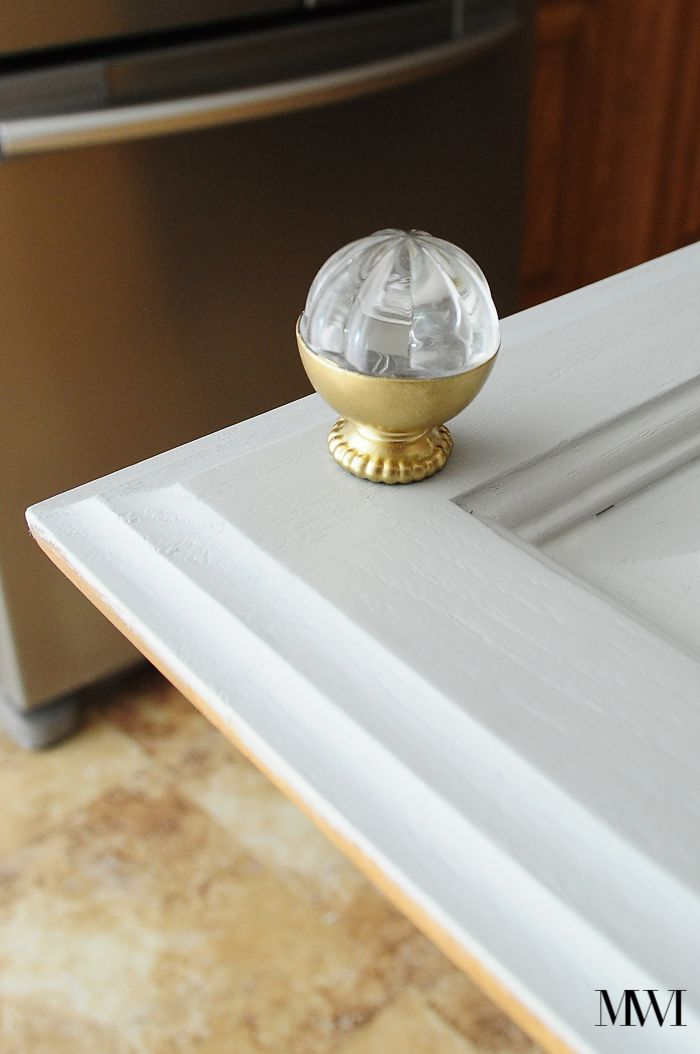Seagull Gray Brass Hardware Kitchen Cabinets