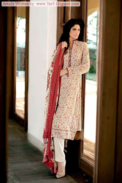 Gul Ahmed Winter Karandi Dress Designs 2014-2015