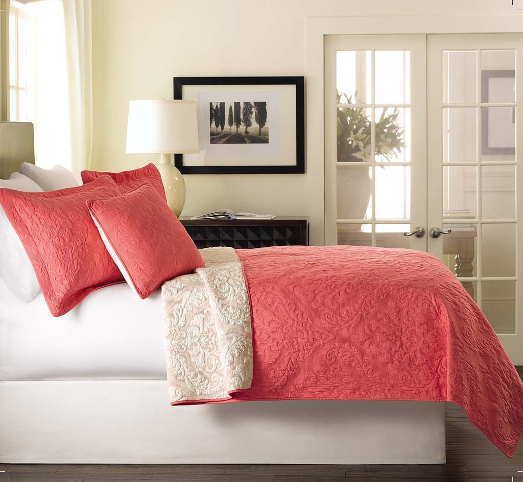 Coral Colored Bedding: 3 Pc. Damask Solid Coral Bed Set