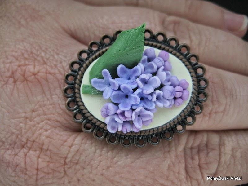 bez, lilac, ring, pierścionek, z bzem,