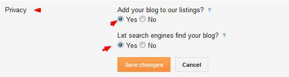 Privacy setting in blogger