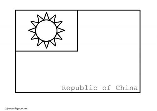 LAMINAS PARA COLOREAR  COLORING PAGES Mapa y Bandera de Taiwan