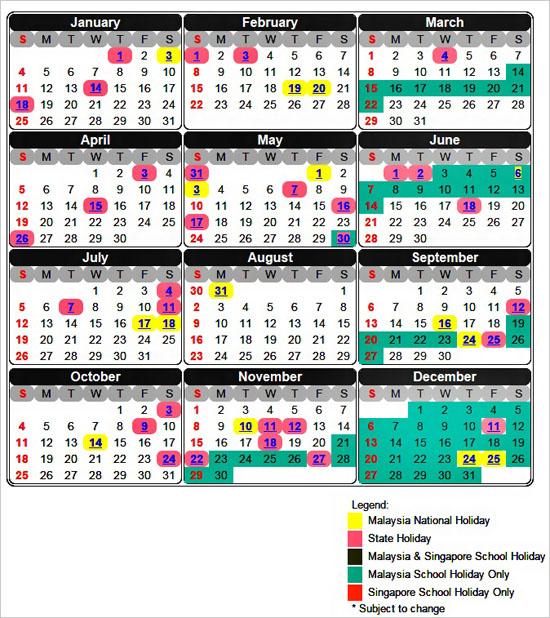 Kalendar Cuti Umum Malaysia dan Singapura tahun 2015