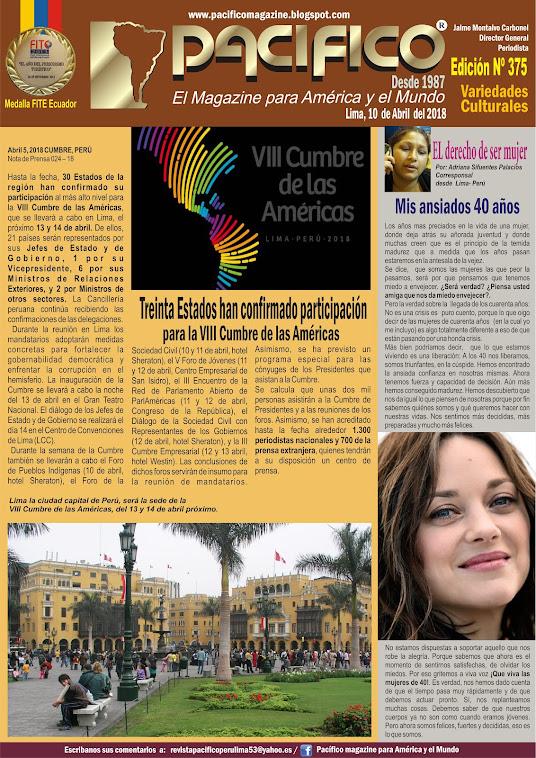 Revista Pacifico Nº 375 Variedades Culturales