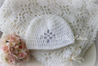 White Lace Blanket and Hat Pattern $6.99