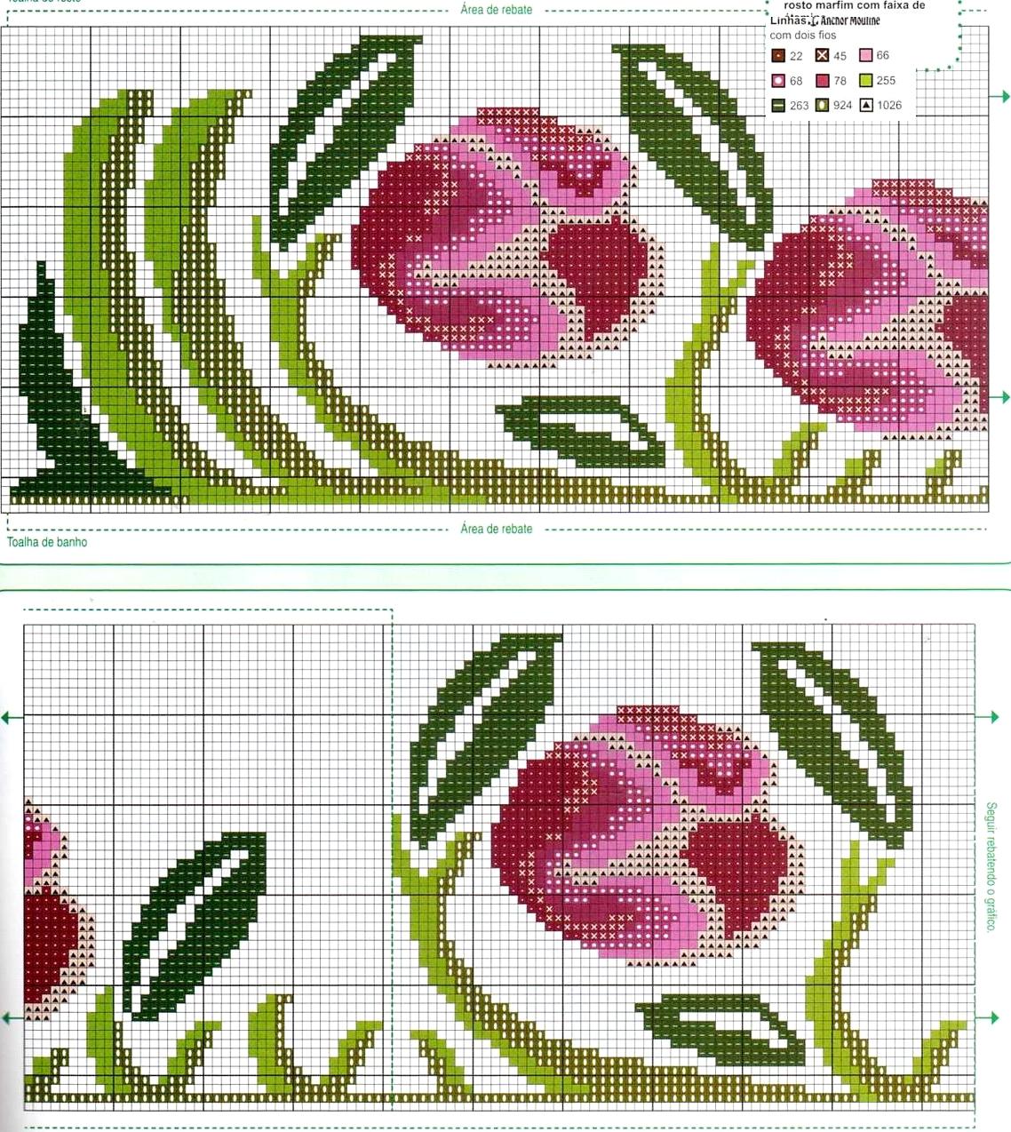 Grande raccolta di Schemi e grafici per Punto croce free: Schemi punto croce - asciugamani bagno