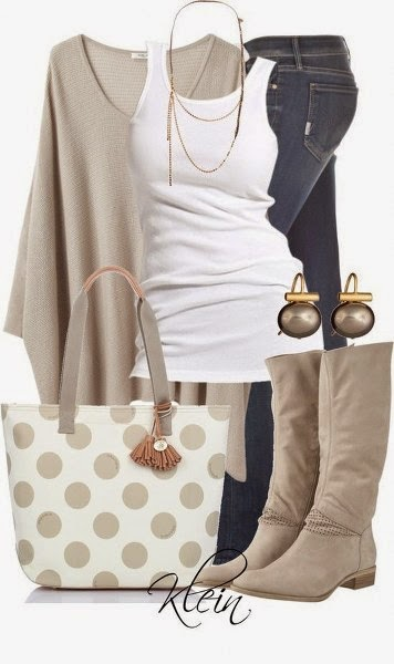 Adorable Combination, Light Leather Colored Shirt, Boots, Small, Nice Earrings And Beautiful Necklac, White, Simple, Cotton Material Singlet, Jeans And Lovely Handbag.
