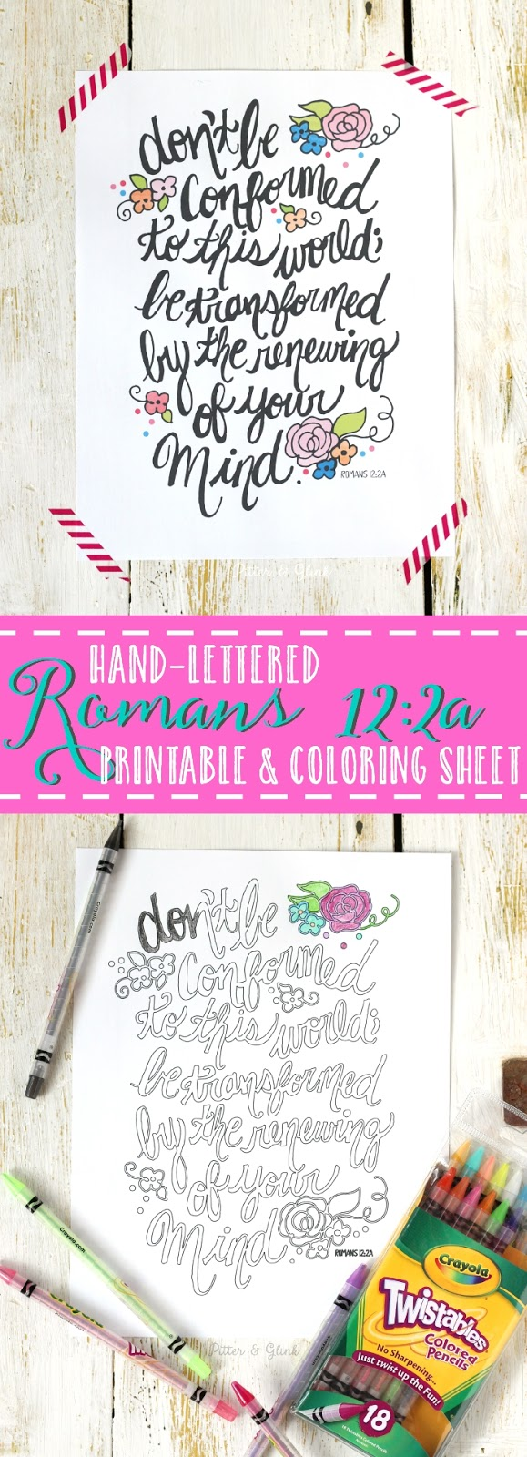 Free Romans 12 Hand-Lettered Bible Verse Printable and Coloring Page www.pitterandglink.com