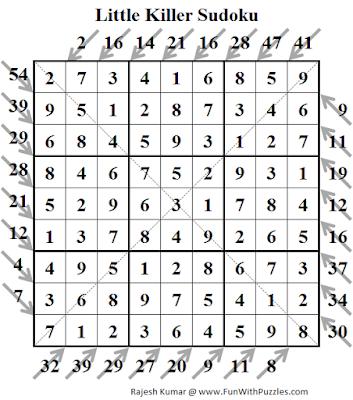 Answer of Diagonal Little Killer Sudoku (Fun With Sudoku #128)