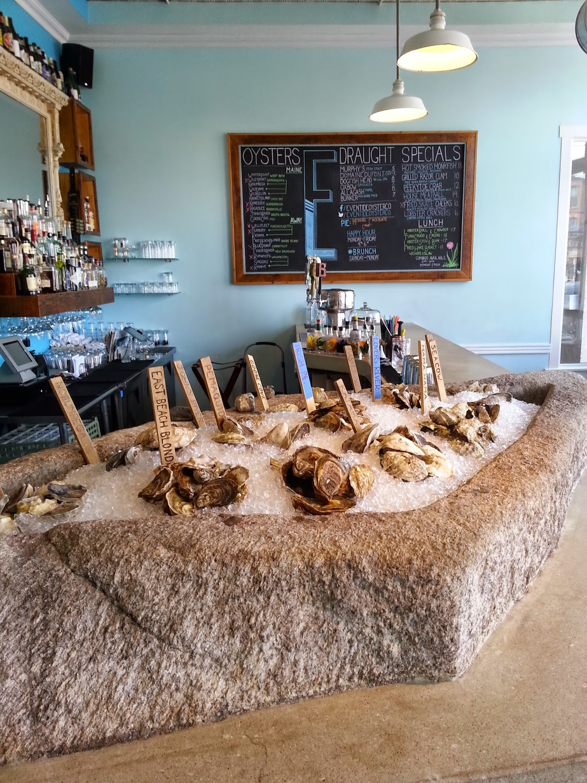 Ten Different Kinds Of Oysters On The Raw Bar