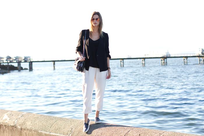 Vancouver Fashion Blogger, Alison Hutchinson, is wearing Front Row Shop white linen trousers, Zara black blazer, Aritzia black silk camisole, Vince slide-ons, Botkier silver bag
