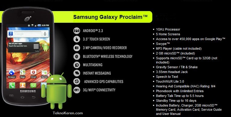 samsung galaxy proclaim android murah support jaringan cdma