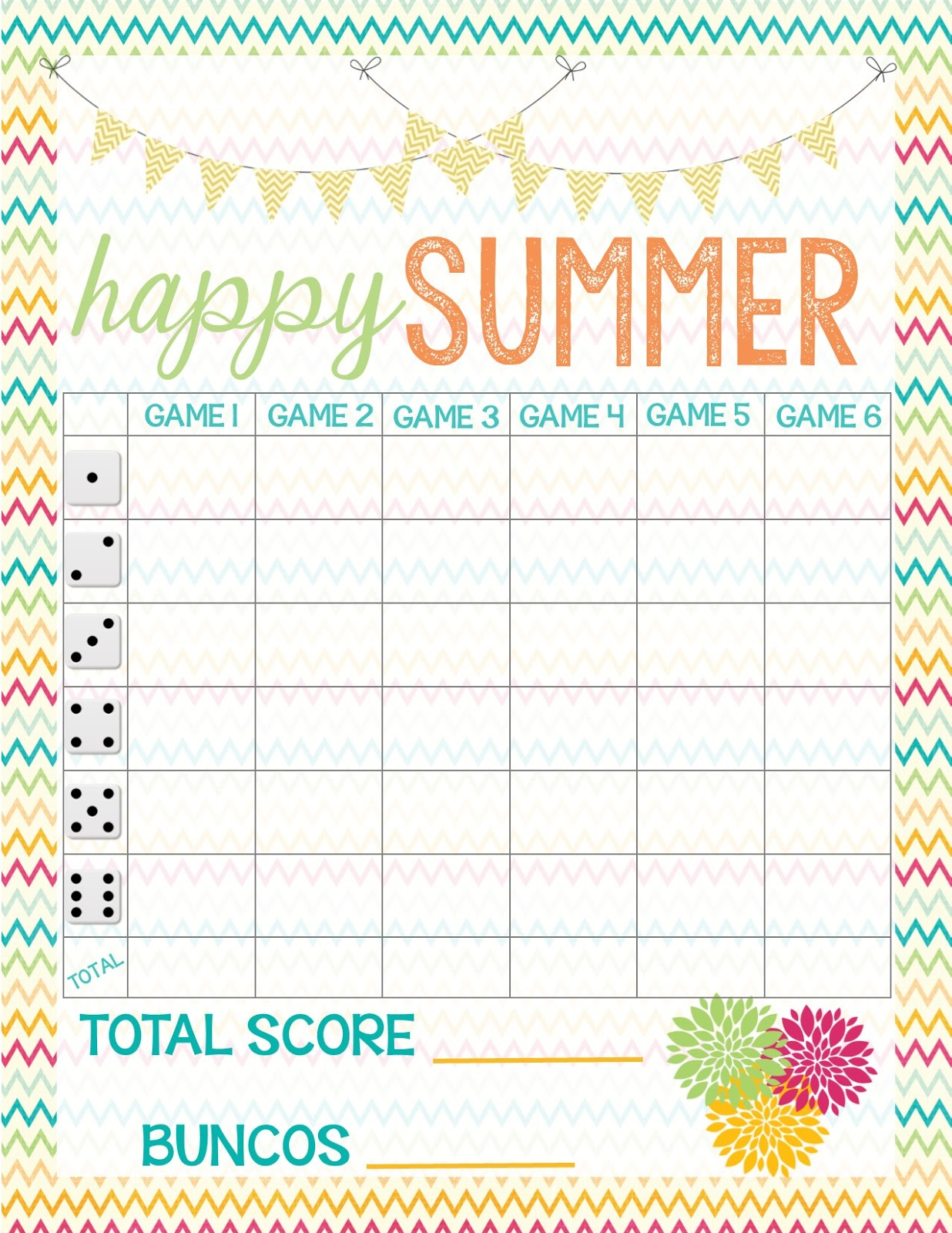 Dynamic image intended for bunco tally sheets printable