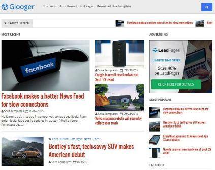 Glooger - Template Blog SEO Responsive Gaya Majalah Berita