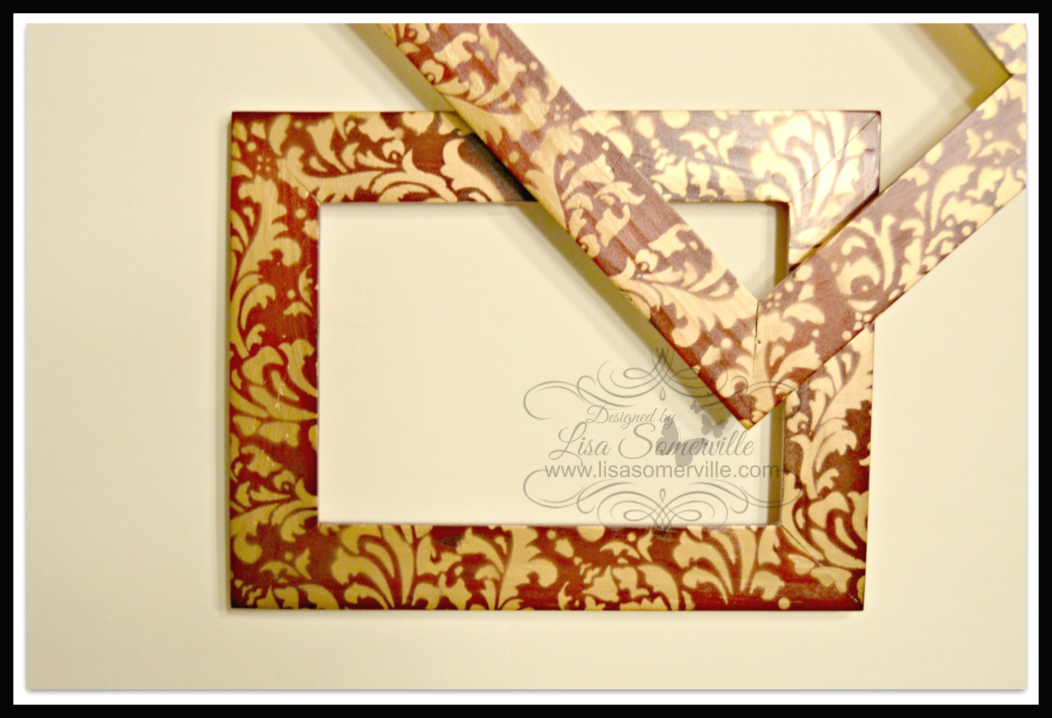 Designs by lisa somerville quick and easy repurposed frames before removing the stencil give the marker a chance to set move stencil and repeat until frame is covered as desired jeuxipadfo Image collections