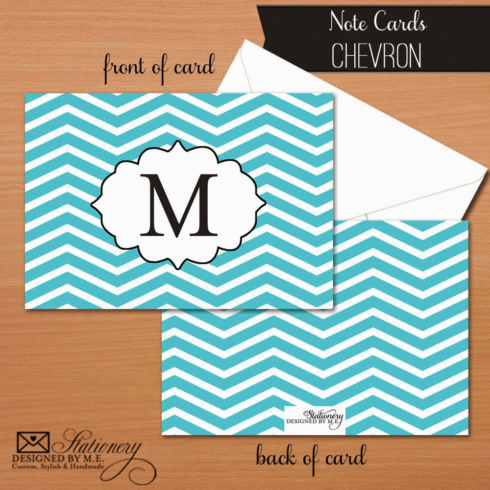 Custom Chevron Thank You Cards - personalized with your colors, font choices & initial