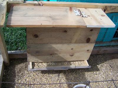 Self-supplying chicken feeder bin made out of scrap materials.