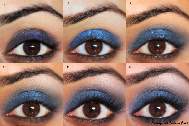 Festive Blue Smokey Eyes with NUde Lips