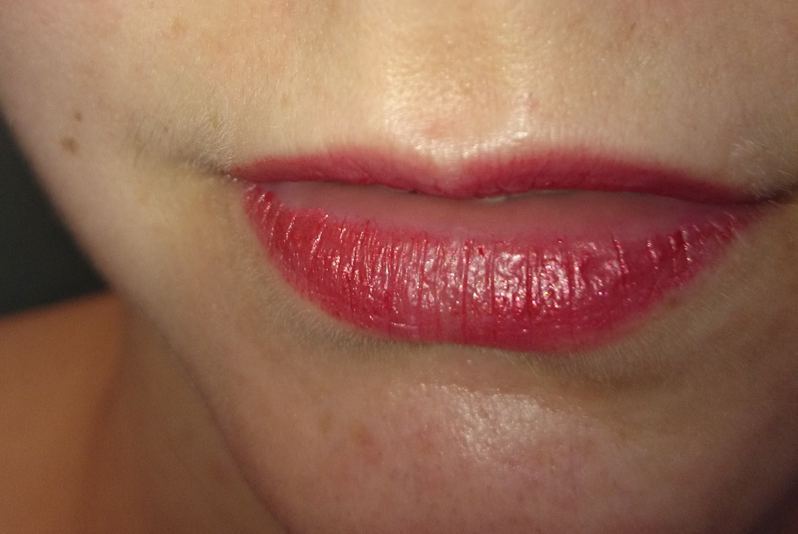 Mac Frost Lipstick Viva Glam Rihanna Tragebild nach 5h