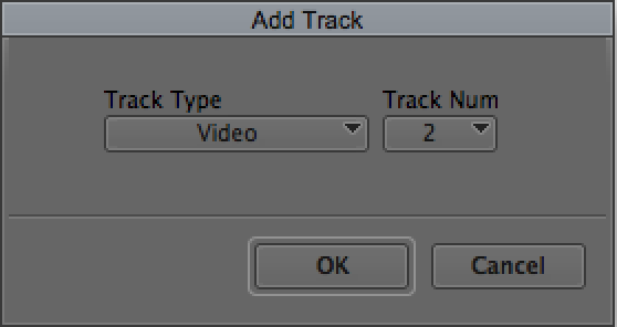 OPTION Add Video Track to insert a new track between existing tracks.