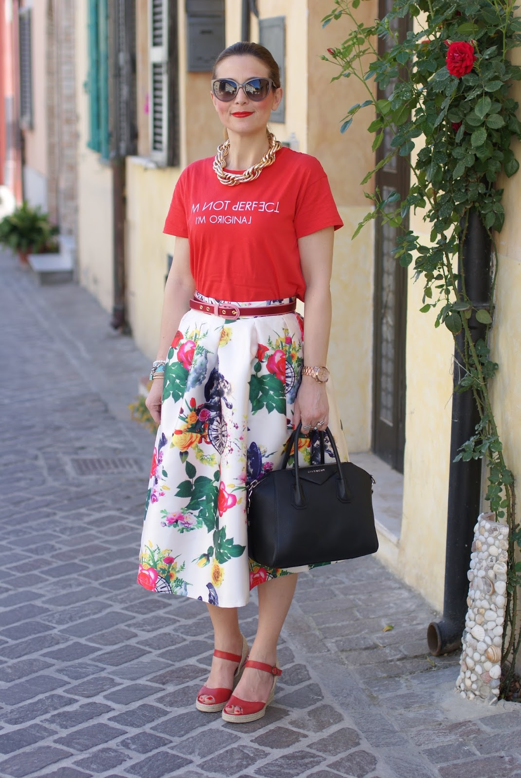 how to style red espadrilles worn with a midi skirt on Fashion and Cookies fashion blog, exploring the espadrilles trend
