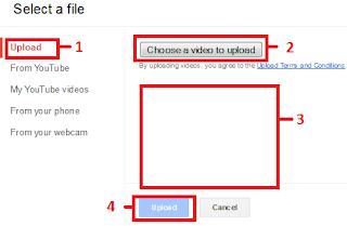 upload/menambahkan video dari laptop/komputer