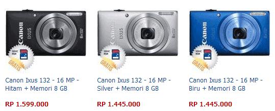 Harga Kamera Canon Ixus 132