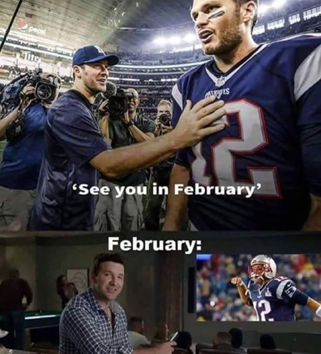 #tonyromo, #cowboyshaters, #nflmeme, #patriots,#tombrady.- see you in february. february: Tony romo vs Tom Brady