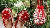 Pantufas Flor Vermelha e Sacola Porta Pantufas