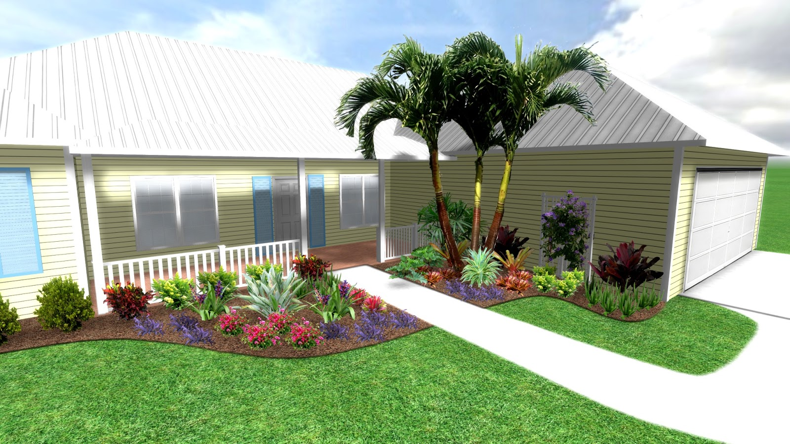 Tropical plant design for front yard landscape design in for Florida landscaping ideas for front yard