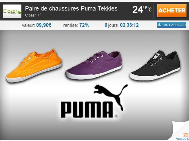 Paire de chaussures Puma Tekkies à 24.90€ au lieu de 89.90€ bon plan puma promo puma