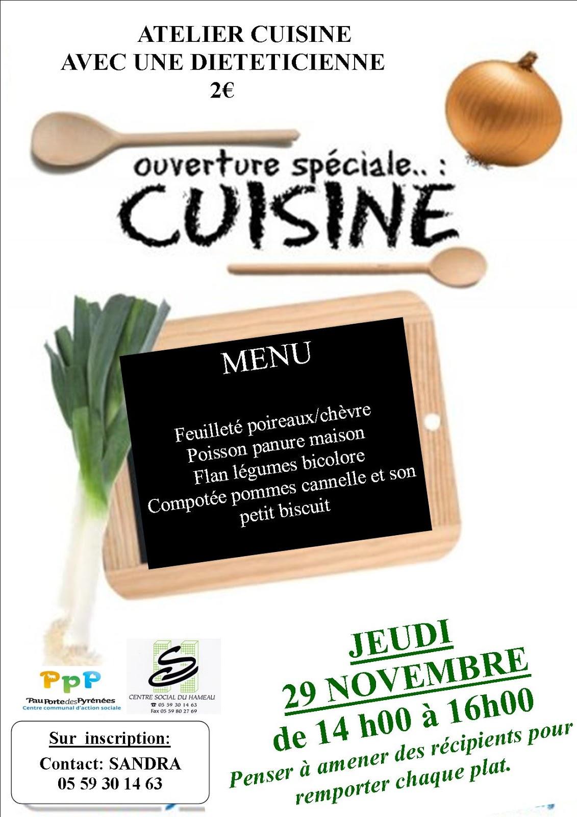 Centre social du hameau pau secteur famille - Cours de cuisine pour jeunes ...