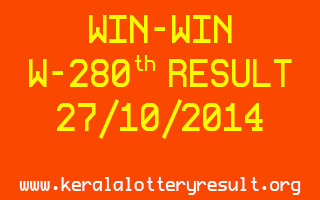 WIN-WIN Lottery W-280 Result 27-10-2014