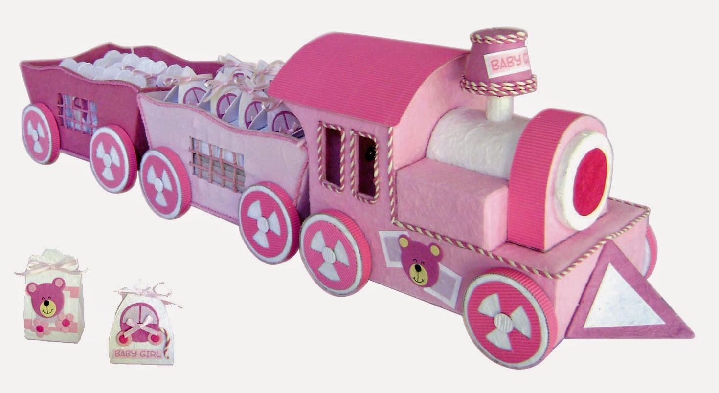 imagen Expositor tren baby rosa + 18 cajitas baby rosa