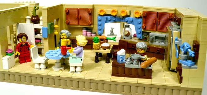 Image of Golden Girls LEGO set with the four girls in the kitchen, complete with Sophia cooking at the stove.