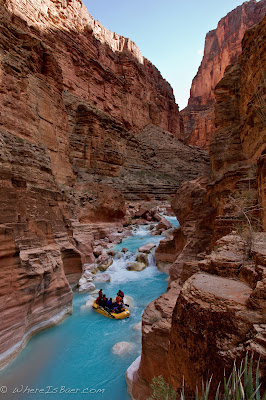 Party boat in the bright blue travertine water of Havasu Canyon, Grand Canyon of the Colorado, Chris Baer