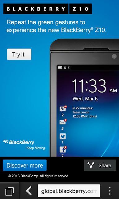 BlackBerry ha puesto a disposición de todos los usuarios de otras plataformas la posibilidad de probar la plataforma BlackBerry 10 desde el explorador de sus dispositivos. Sin embargo, ahora puedes invitar a tus amigos a que prueben la plataforma BlackBerry 10 para que vean un poco cómo funciona BlackBerry 10 desde sus propios dispositivos móviles. Estás son las características que se pueden probar: Gestos Aplicaciones de conmutación BlackBerry Hub Teclado BlackBerry BBM BBM video BBM Screen Share Función de la Cámara Time Shift He intentado esto en varios con dispositivos Android y funciona muy bien. También puedes probarlo en tu