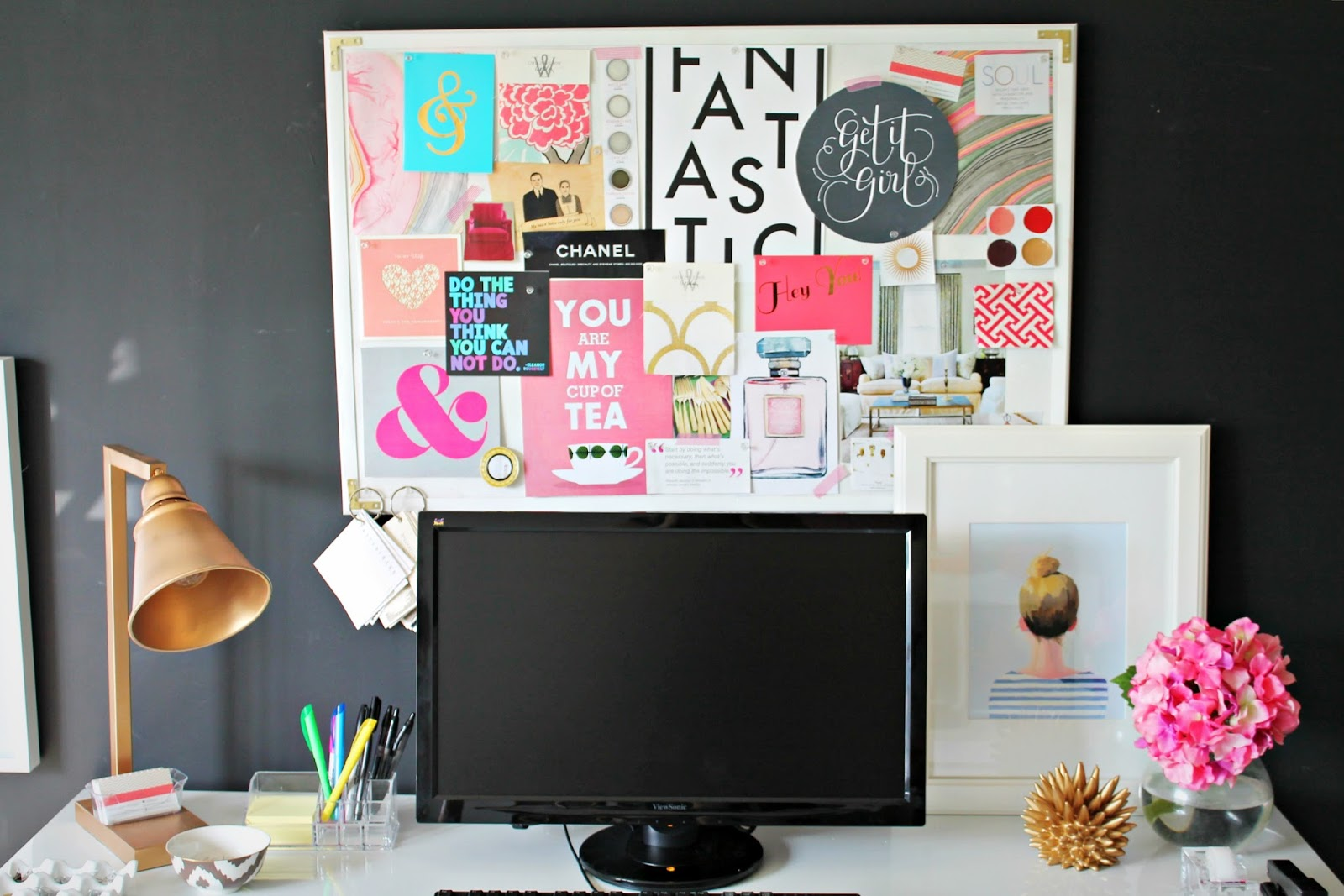 Project office inspiration board and desk update for Cork board inspiration