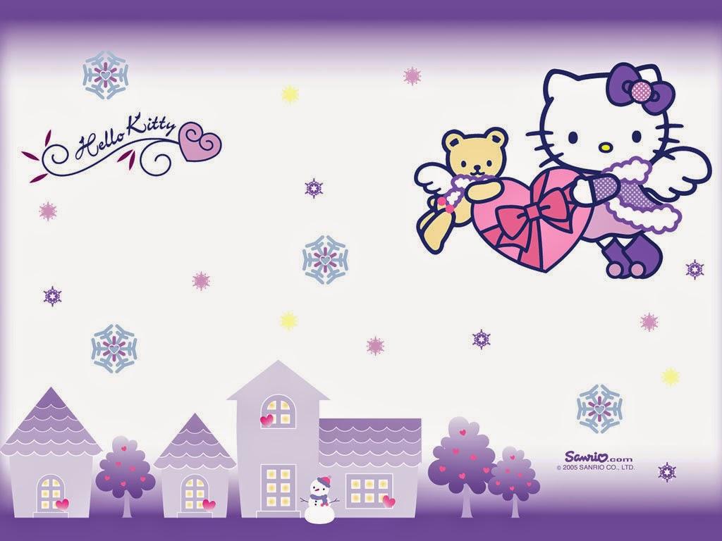 Gambar Hello Kitty Wallpaper Lucu Cantik Malaikat Sayap Bersayap Purple